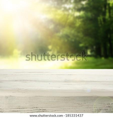 garden of summer and desk  - stock photo