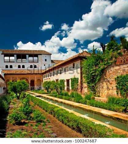 Garden of the famous Alhambra, Granada, Spain - stock photo