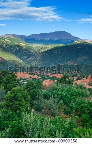 Garden of The Gods park with a view of Pikes Peak in Colorado Springs - stock photo
