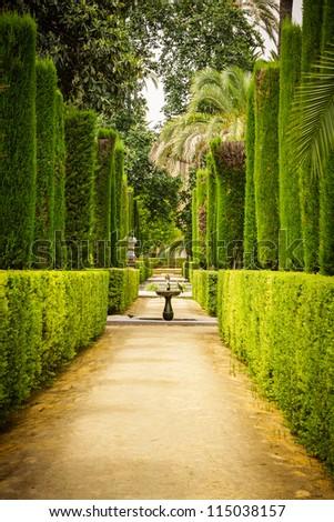 Garden of the Poets, Alcazar Palace, Sevilla, Spain - stock photo