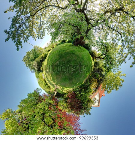 garden or park 360 panoramic image. lawn and trees with house in background. small planet rendering of home and gardens - stock photo