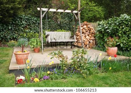 Garden patio - stock photo