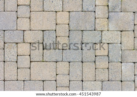 Garden Patio in Backyard Stone Brick Pavers Hardscape Layout Design Top View - stock photo