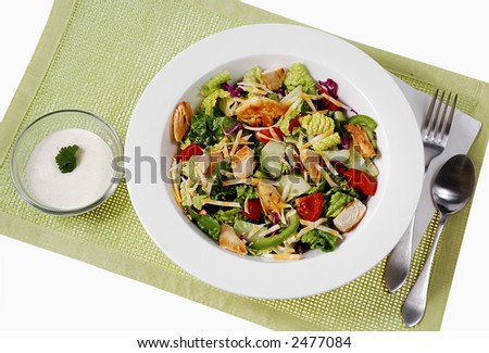 Garden salad with fied chicken breast and cheese on top. - stock photo