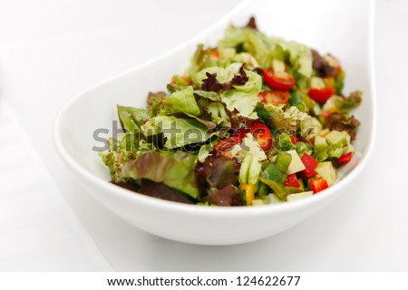 Garden Salad with tomato and cucumber in white ceramic bowl, focused to the middle - stock photo