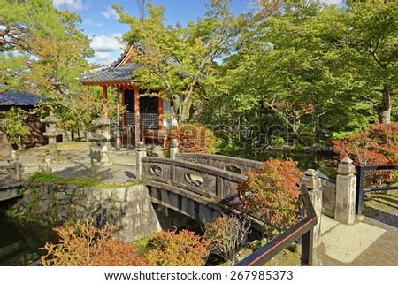 Garden scene in the Kiyomizu Buddhist temple in Kyoto, Japan - stock photo