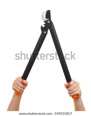 Garden shears isolated on a white background - stock photo