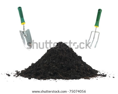 Garden soil isolated against a white background - stock photo