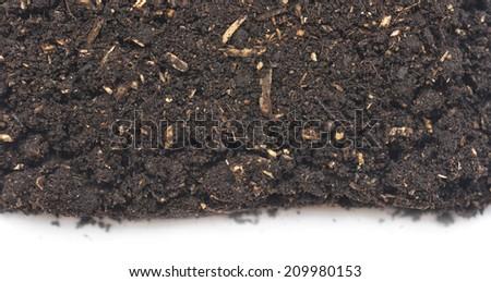 garden soil isolated on white background - stock photo