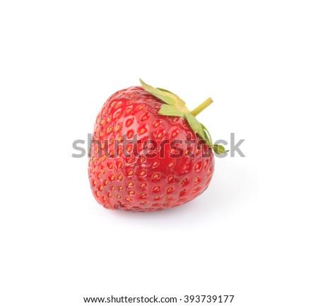 Garden strawberry isolated on white background - stock photo