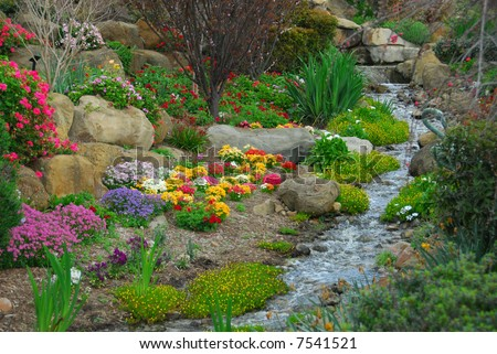 Garden Stream - stock photo