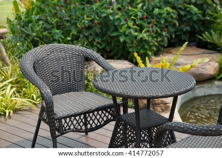 Garden table and chairs. - stock photo