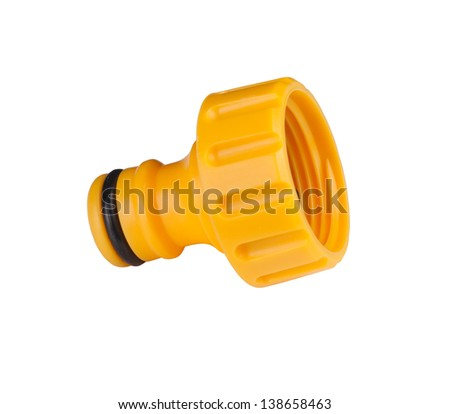 Garden tap connector isolated on white - stock photo