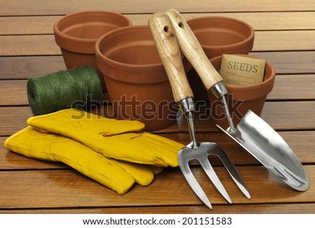 Garden terracotta pot on a table top - stock photo