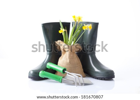 garden tools, boots and spring flowers isolated on white - stock photo