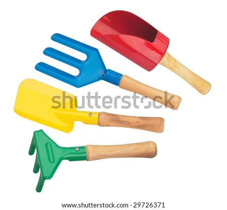 Garden tools in a white background - stock photo