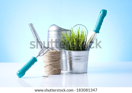 garden tools isolated - stock photo