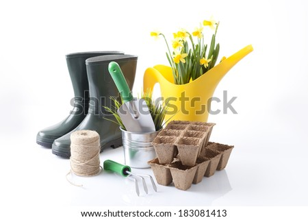 garden tools isolated on white - stock photo