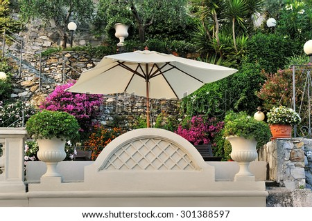 Garden umbrella - stock photo