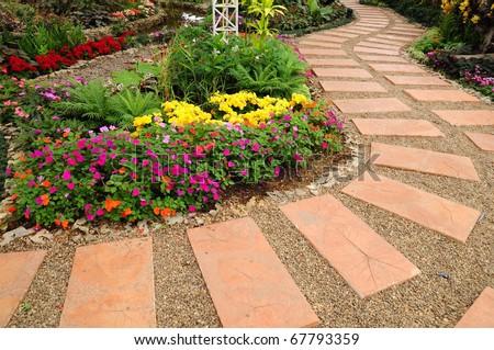 Garden walk way - stock photo