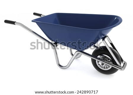 Garden wheelbarrow isolated on white - stock photo