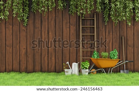 Garden with an old wooden fence and tools for gardening-3D Rendering - stock photo