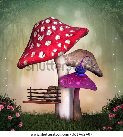 Garden with mushrooms and swing - stock photo