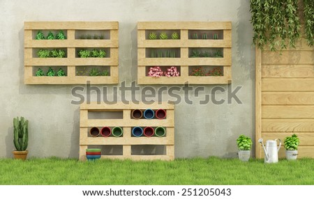 Garden with planters made of recycled wooden pallets - 3D Rendering - stock photo