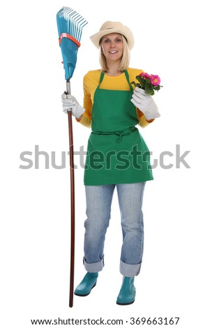 Gardener gardner young woman with flower gardening garden occupation full body isolated on a white background - stock photo