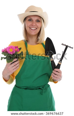Gardener gardner young woman with flower gardening garden occupation job isolated on a white background - stock photo