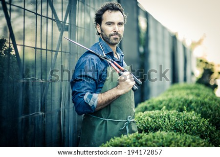 Gardener pruning at nursery, looking at camera - stock photo