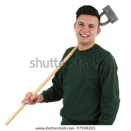 Gardener with a hoe, isolated on white - stock photo