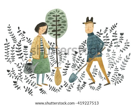 Gardeners planting a tree watercolor illustration - stock photo