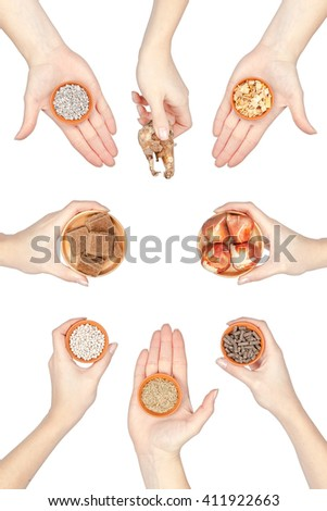 gardening. set of planting and seeding supplies in a hands isolated on white background - stock photo