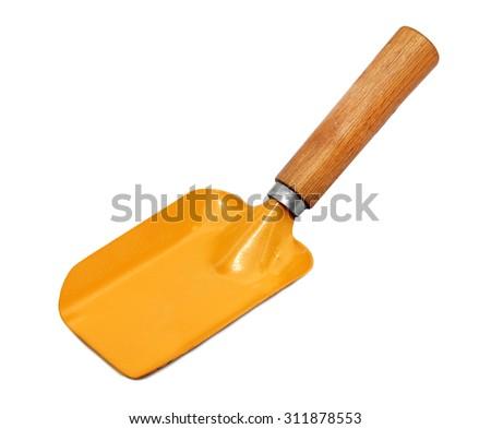 Gardening shovel isolated on white background. - stock photo