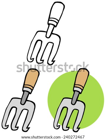 Gardening Tool-Gardening Hand Cultivater. Raster Collection Set - stock photo
