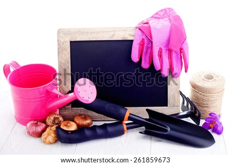 gardening tools and frame on a wooden table - flowers and plants - stock photo