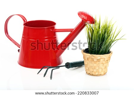 gardening tools and grass on white background  - stock photo