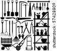 Gardening Tools Silhouette - stock photo