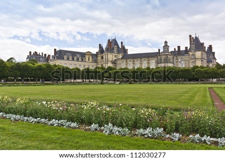 Gardens and Chateau of Fontainebleau. Palace of Fontainebleau - one of largest royal chateaux in France (55 km from Paris), UNESCO World Heritage Site. - stock photo