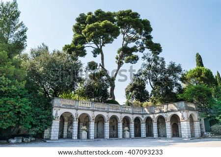Gardens and Mosaics on Top of Castle Hill, Nice, France - stock photo