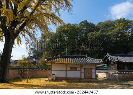 Gardens and traditional houses in Jeonju Hanok Village. The architecture is based on the traditional Korean 'hanok' houses - stock photo