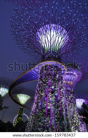 Gardens by the Bay - SuperTree Grove in Singapore. Spanning 101 hectares, and five-minute walk from Bayfront MRT Station. - stock photo