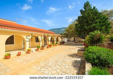 Gardens of old monastery Agios Gerasimos on Kefalonia island, Greece  - stock photo