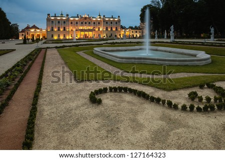 Gardens of the palace complex Branicki in Bialystok, Poland. - stock photo