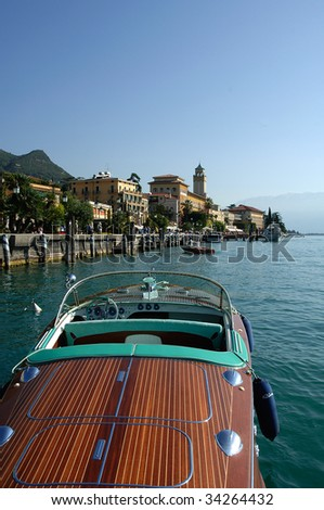 Gardone Riviera (Bs),lake of Garda,Lombardy,Italy,a Riva vintage speedboat meeting - stock photo