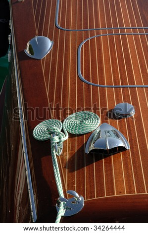 Gardone Riviera (Bs),lake of Garda,Lombardy,Italy,a Riva vintage speedboat meeting,particular of a speedboat - stock photo