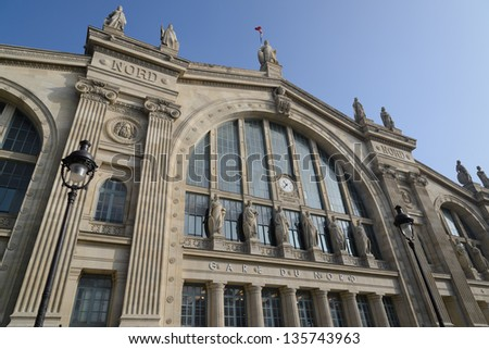 Gare du Nord railway station in Paris - stock photo