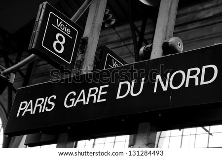 Gare du Nord train station sign in Paris, France. - stock photo