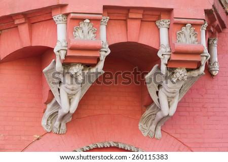 Gargoyle chimeras on Knight's castle in Kiev, Ukraine - stock photo